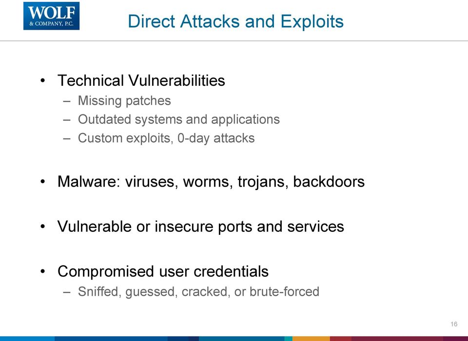 viruses, worms, trojans, backdoors Vulnerable or insecure ports and