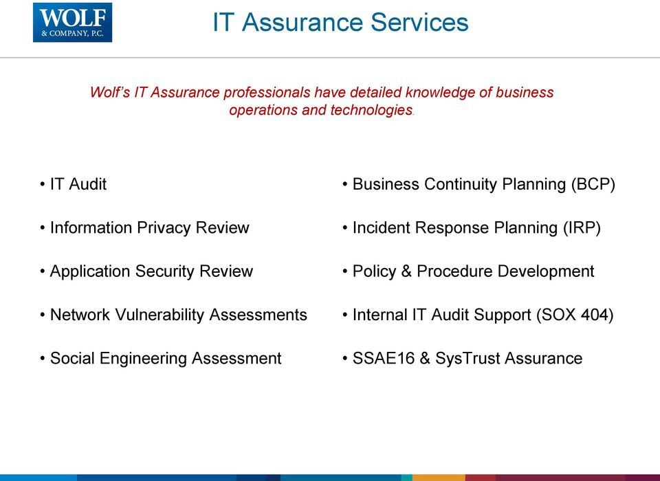IT Audit Information Privacy Review Application Security Review Network Vulnerability Assessments
