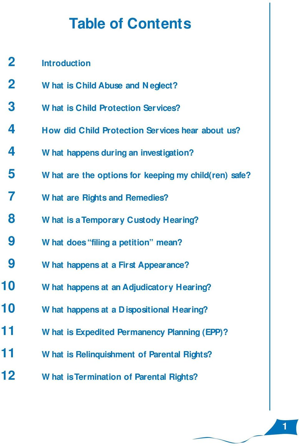 8 What is a Temporary Custody Hearing? 9 What does filing a petition mean? 9 What happens at a First Appearance? 10 What happens at an Adjudicatory Hearing?