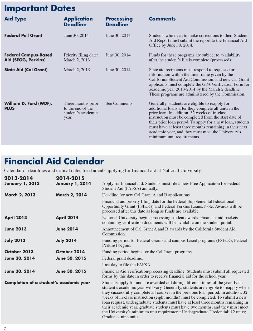 Federal Campus-Based Priority filing date: June 30, 2014 Funds for these programs are subject to availability Aid (SEOG, Perkins) March 2, 2013 after the student s file is complete (processed).
