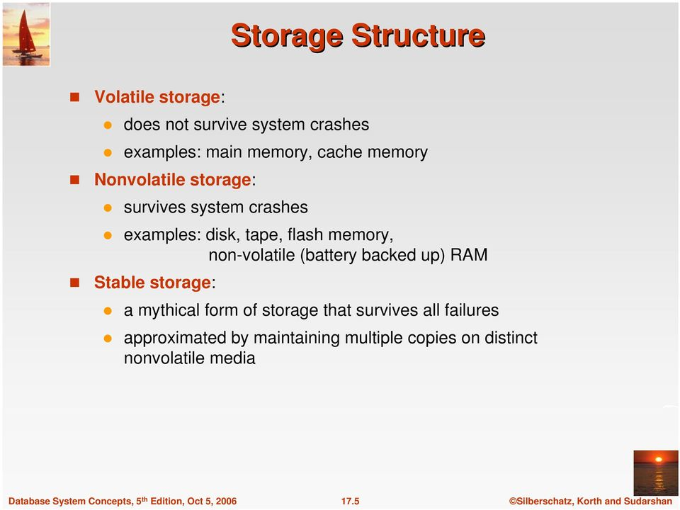 memory, non-volatile (battery backed up) RAM Stable storage: a mythical form of storage that