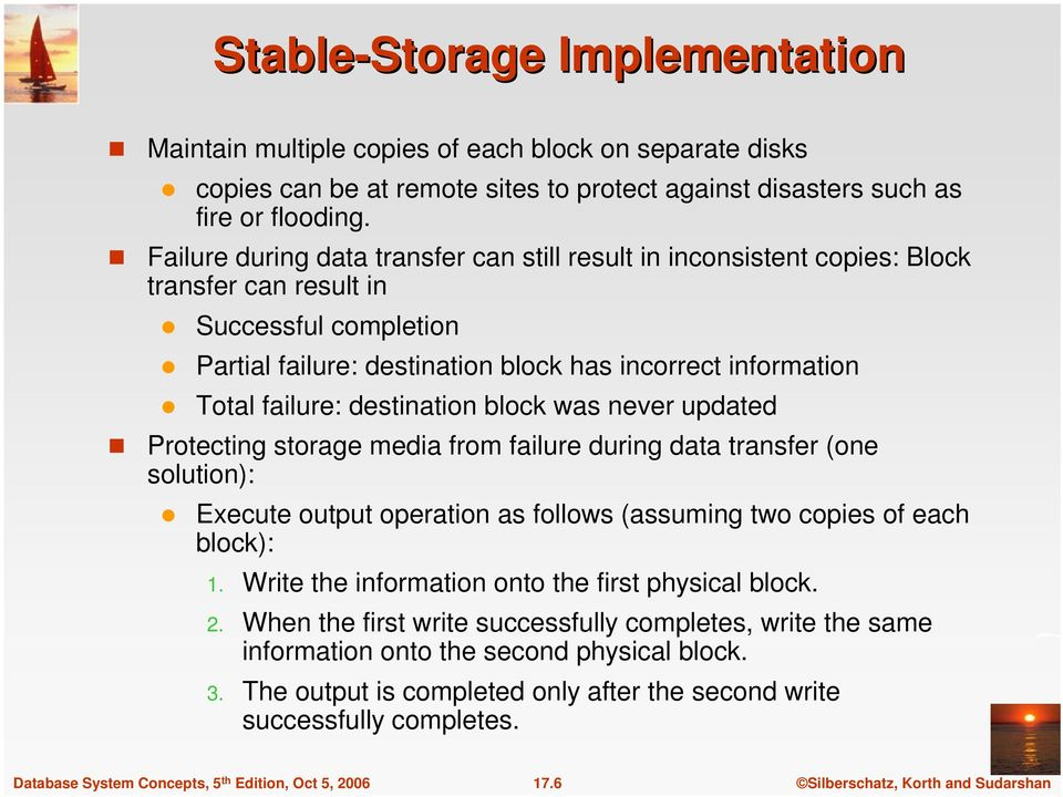 destination block was never updated Protecting storage media from failure during data transfer (one solution): Execute output operation as follows (assuming two copies of each block): 1.