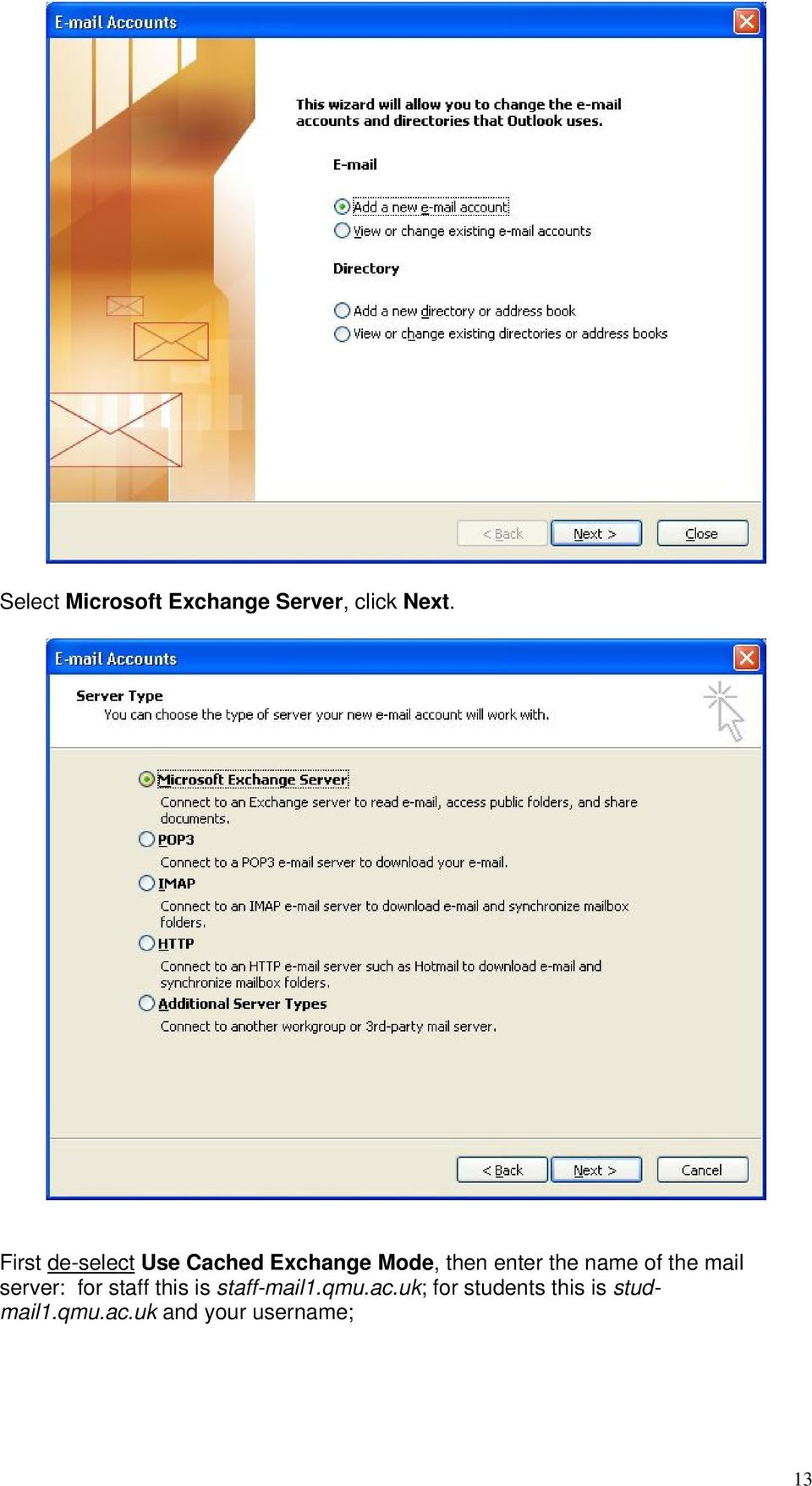name of the mail server: for staff this is staff-mail1.