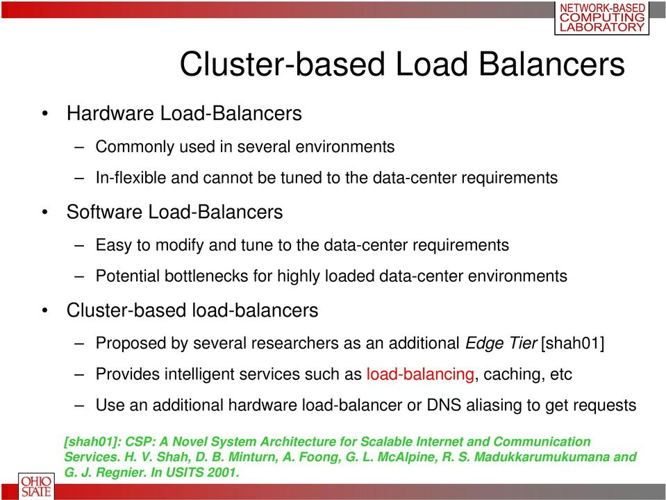 additional Edge Tier [shah01] Provides intelligent services such as load-balancing, caching, etc Use an additional hardware load-balancer or DNS aliasing to get requests [shah01]: CSP: