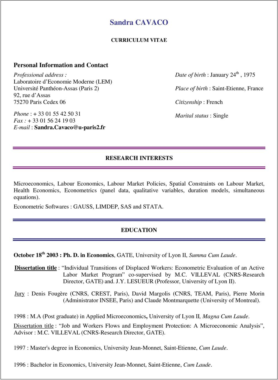 Sandra Cavaco Curriculum Vitae Research Interests Pdf