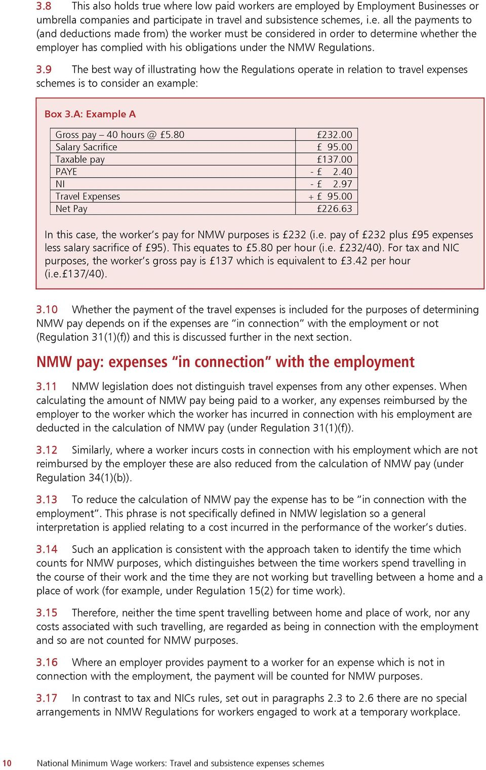 national minimum wage workers travel and subsistence expenses