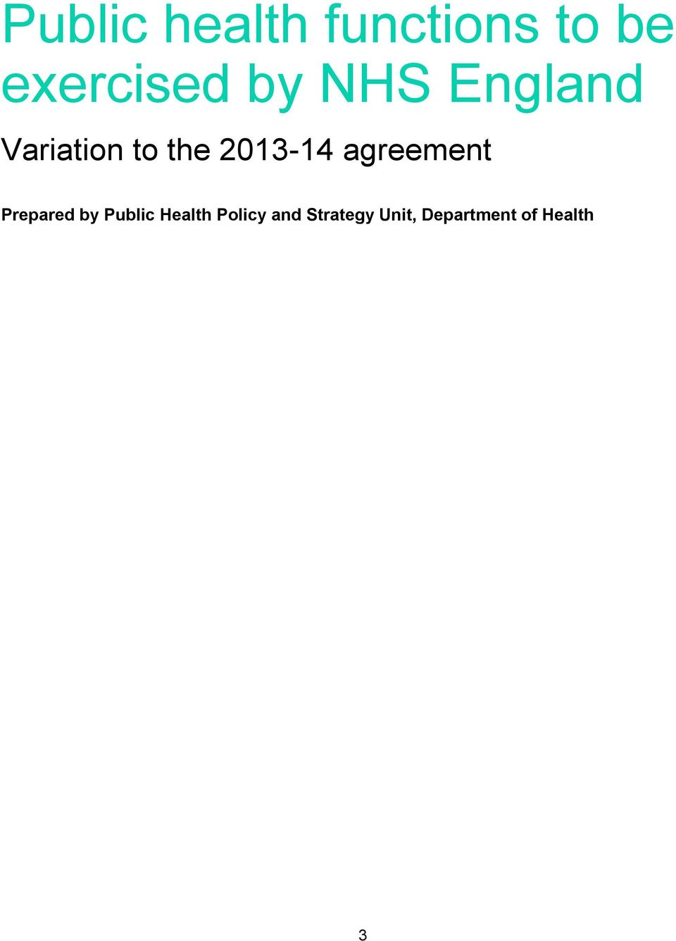 agreement Prepared by Public Health