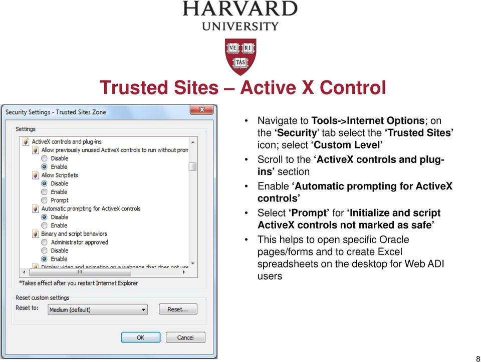 prompting for ActiveX controls Select Prompt for Initialize and script ActiveX controls not marked as safe