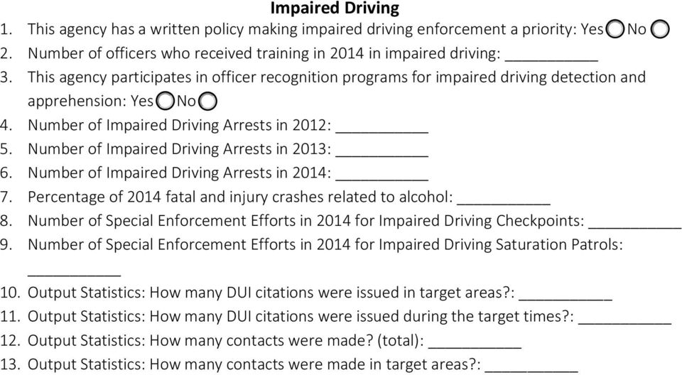 Number of Impaired Driving Arrests in 2013: 6. Number of Impaired Driving Arrests in 2014: 7. Percentage of 2014 fatal and injury crashes related to alcohol: 8.