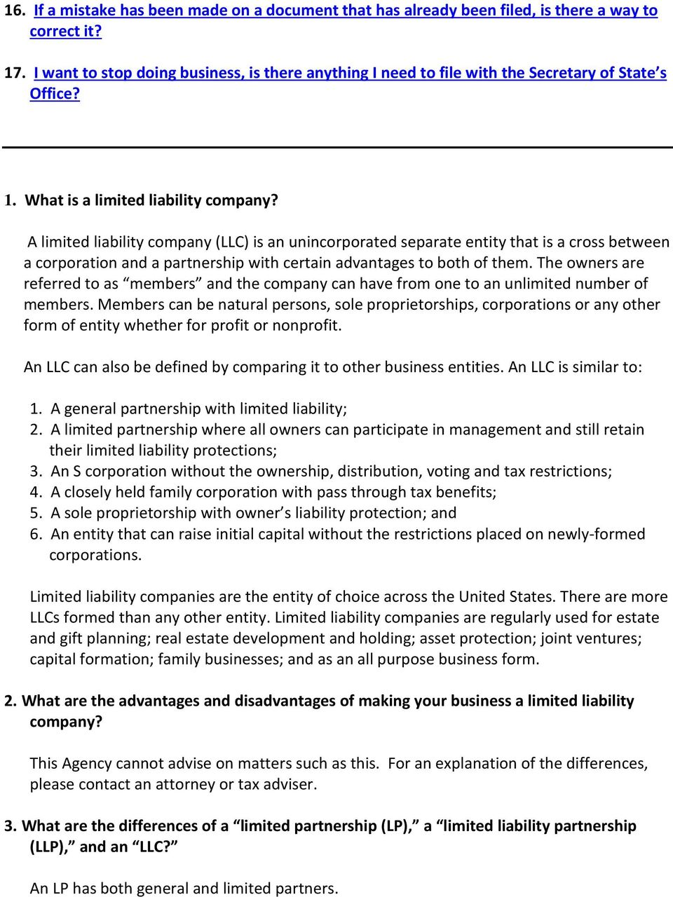 limited liability company frequently asked questions - pdf