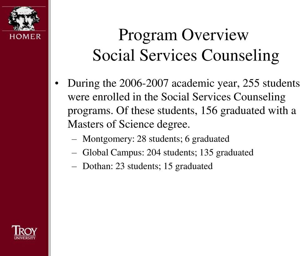 College of Education  Social Services Counseling Master of Science