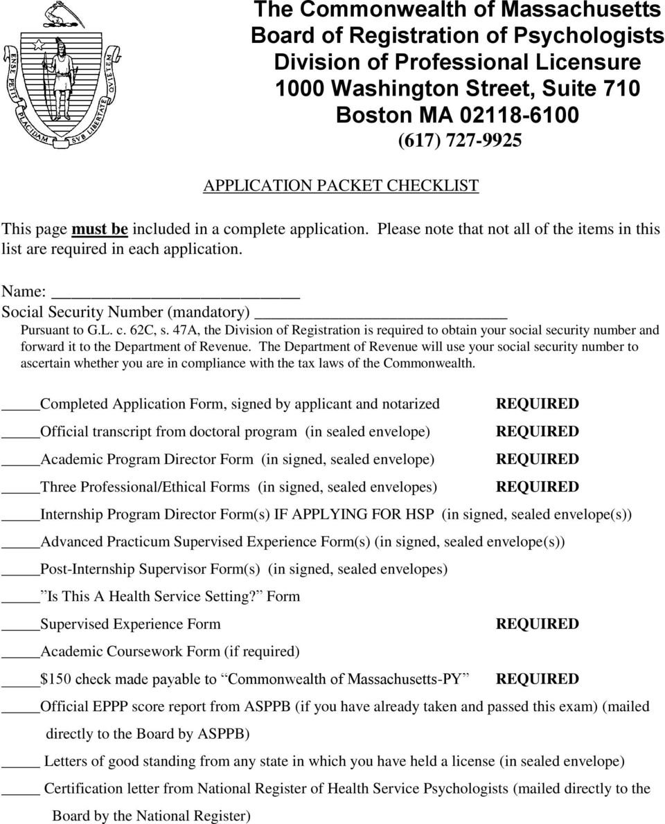 Ma Division Of Professional Licensure >> Application Packet Checklist Pdf