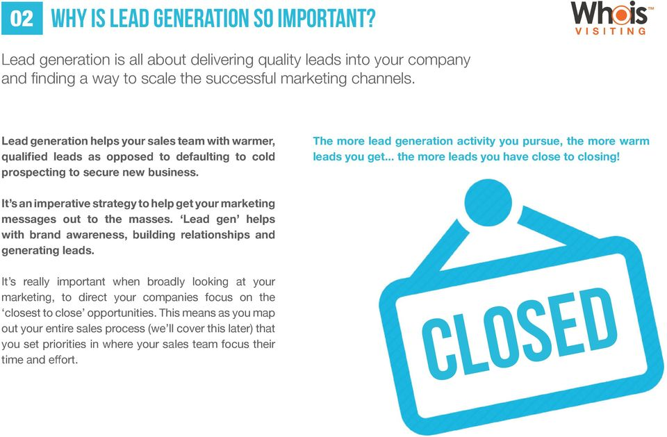The more lead generation activity you pursue, the more warm leads you get... the more leads you have close to closing!