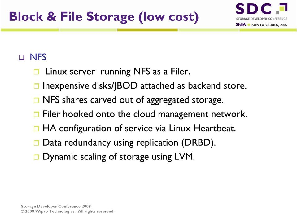 NFS shares carved out of aggregated storage.