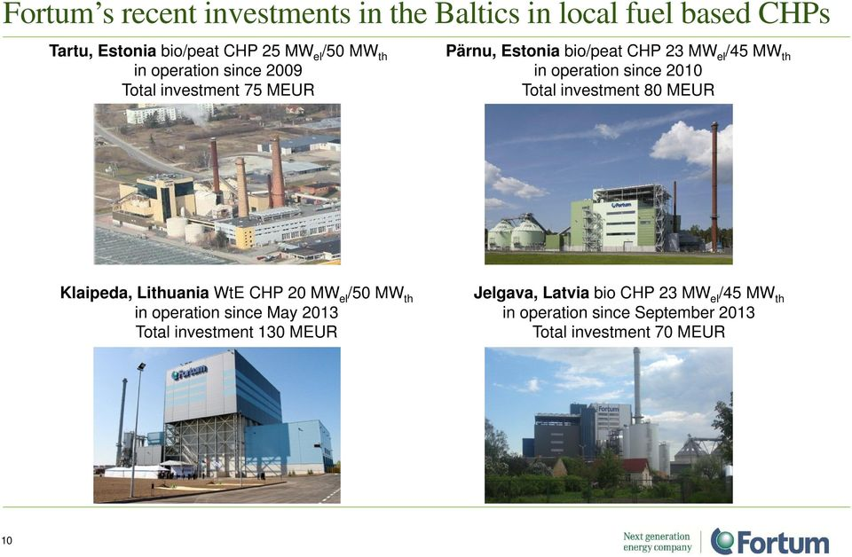 2010 Total investment 80 MEUR Klaipeda, Lithuania WtE CHP 20 MW el /50 MW th in operation since May 2013 Total