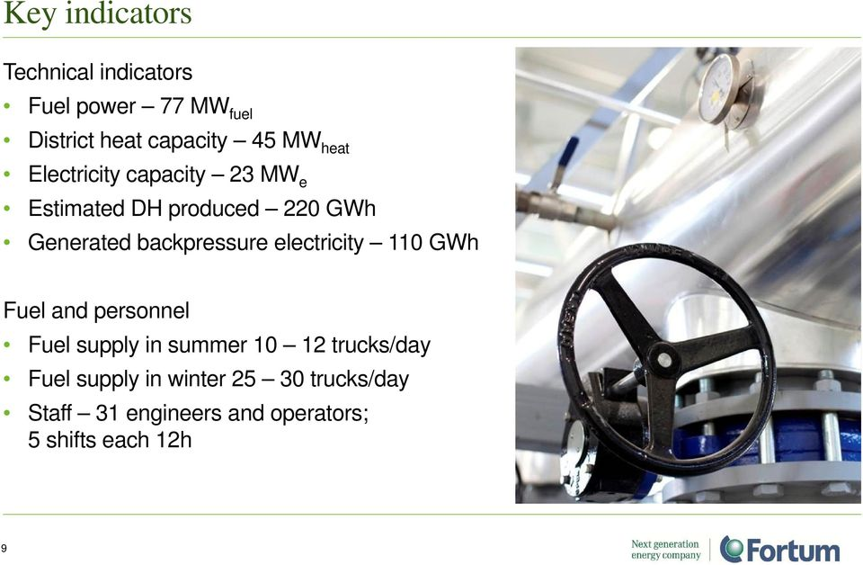 backpressure electricity 110 GWh Fuel and personnel Fuel supply in summer 10 12