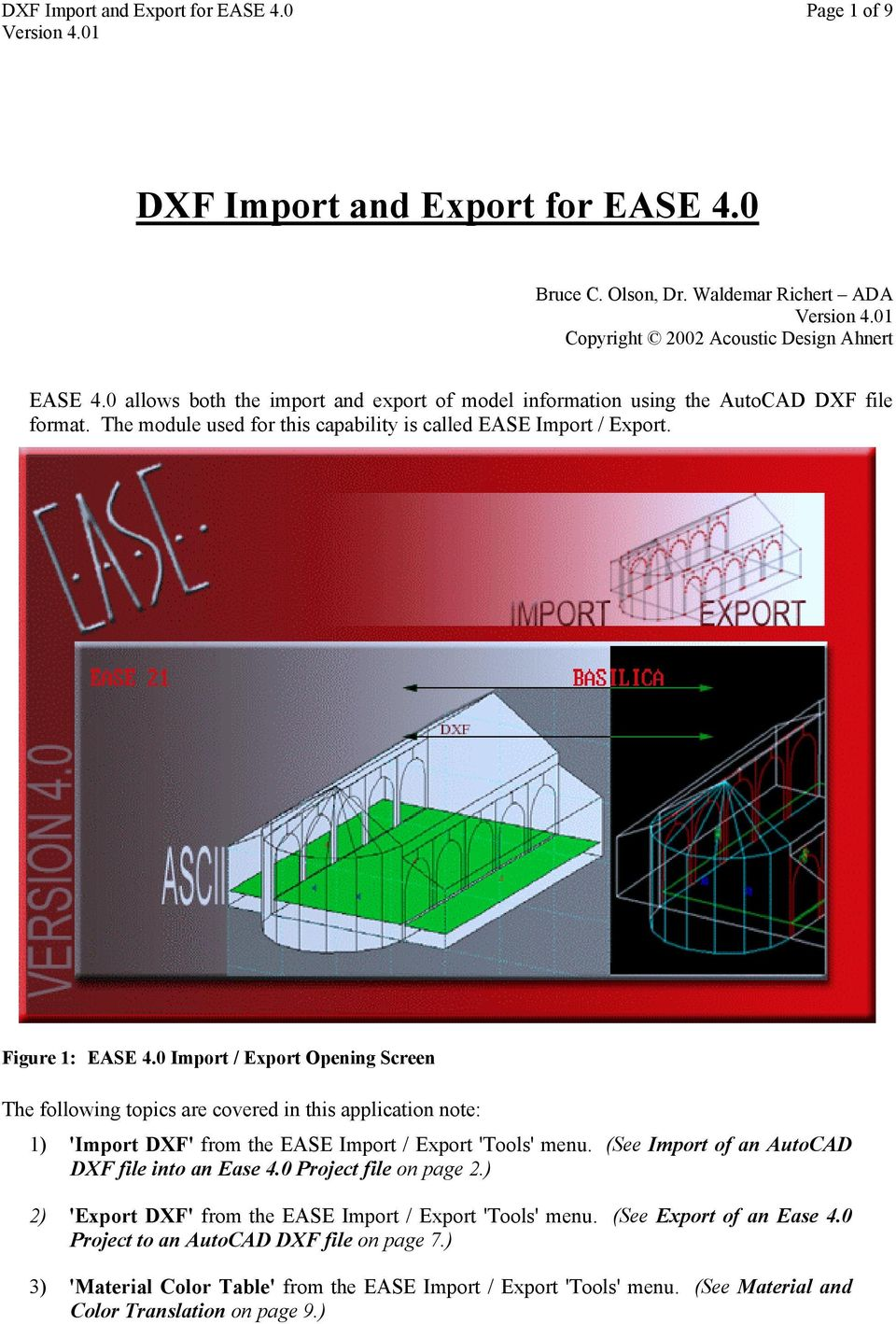 DXF Import and Export for EASE PDF