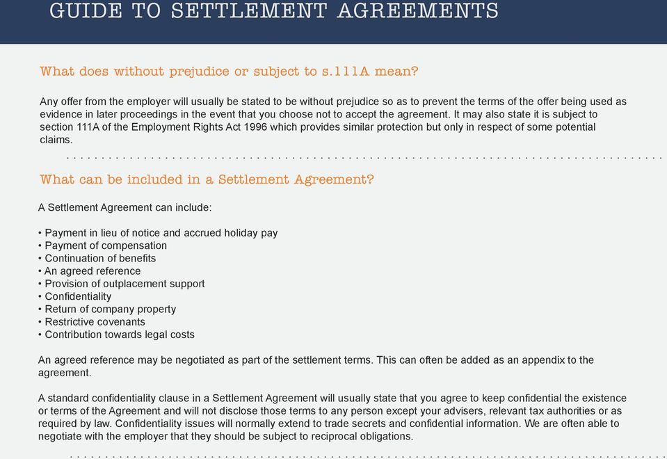 Your Quick Guide To Settlement Agreements Pdf