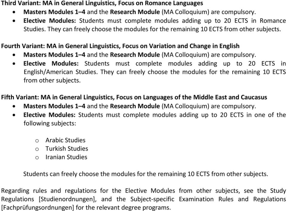 Module Handbook for the Masters program in General Linguistics at