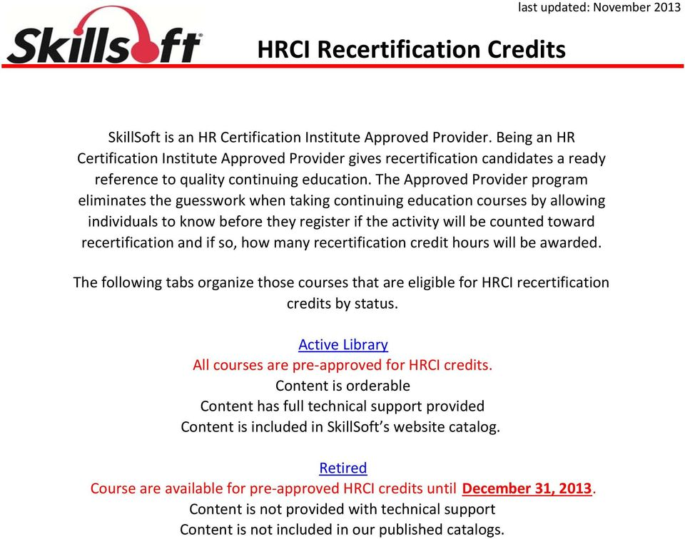 Hrci Recertification Credits Pdf