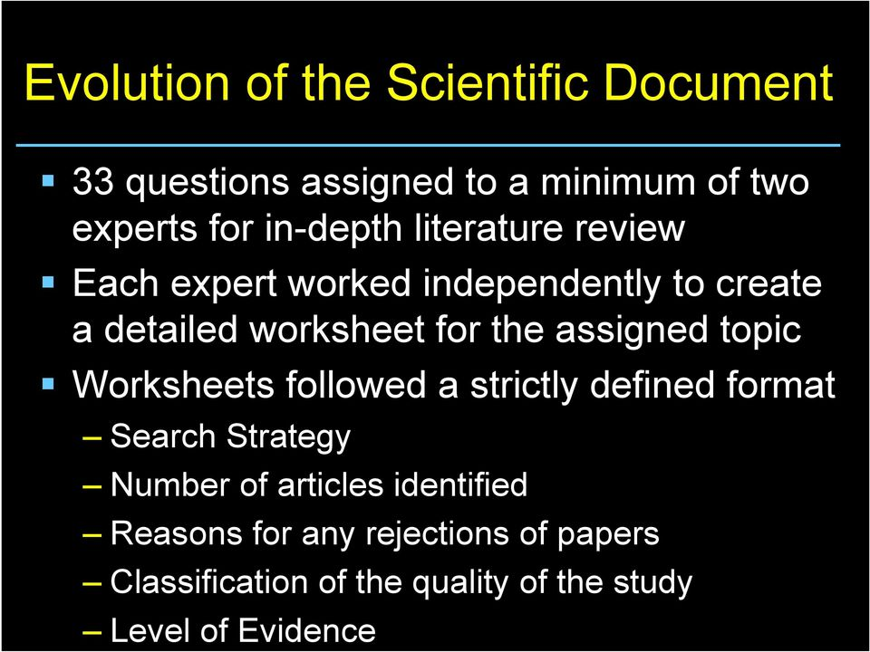 assigned topic Worksheets followed a strictly defined format Search Strategy Number of articles