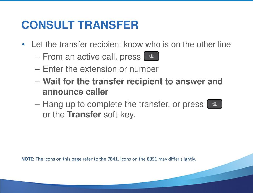 answer and announce caller Hang up to complete the transfer, or press or the Transfer