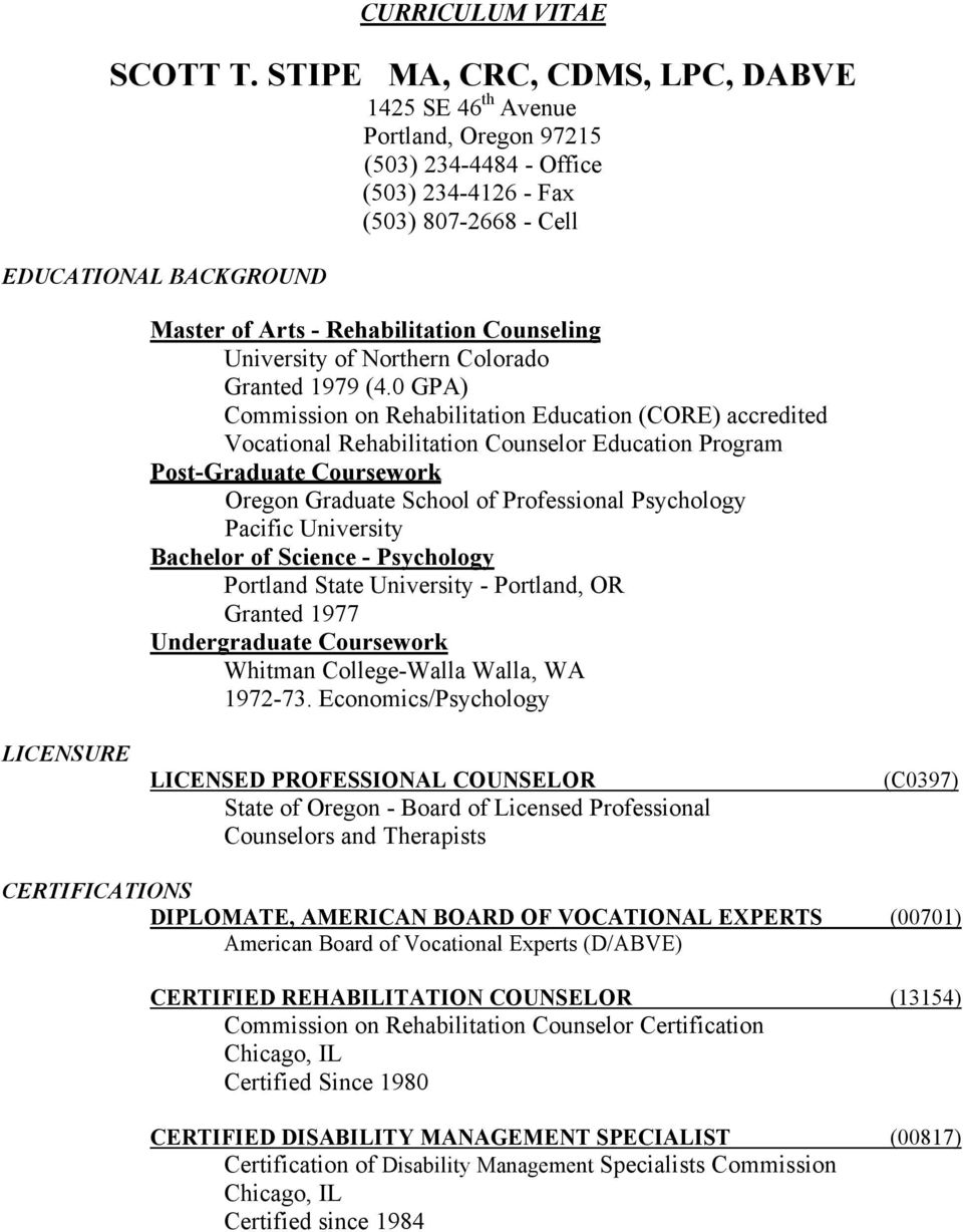 Curriculum Vitae Licensure Licensed Professional Counselor State Of