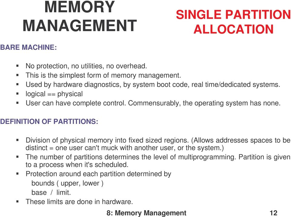 OPERATING SYSTEMS MEMORY MANAGEMENT - PDF