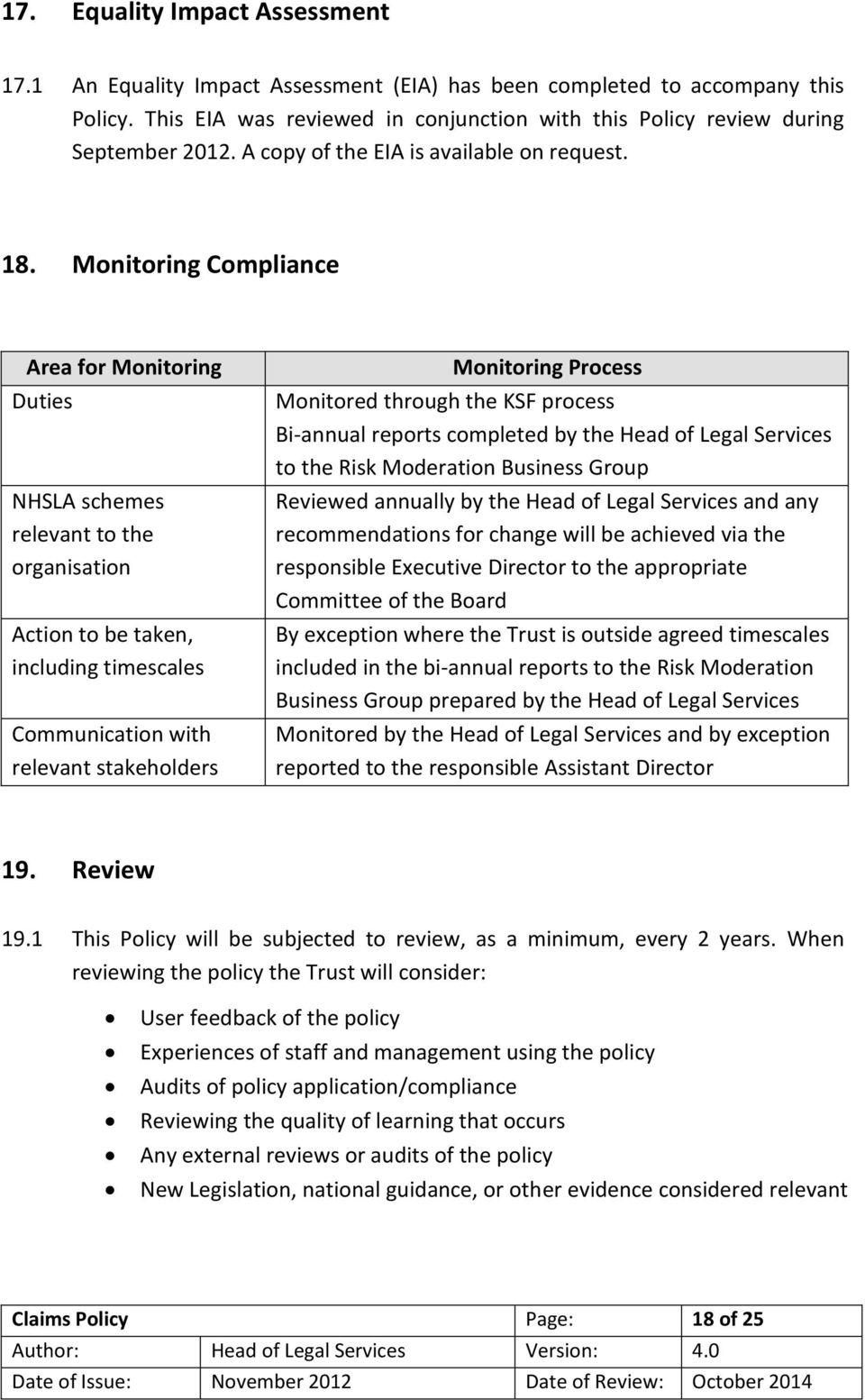 Monitoring Compliance Area for Monitoring Duties NHSLA schemes relevant to the organisation Action to be taken, including timescales Communication with relevant stakeholders Monitoring Process