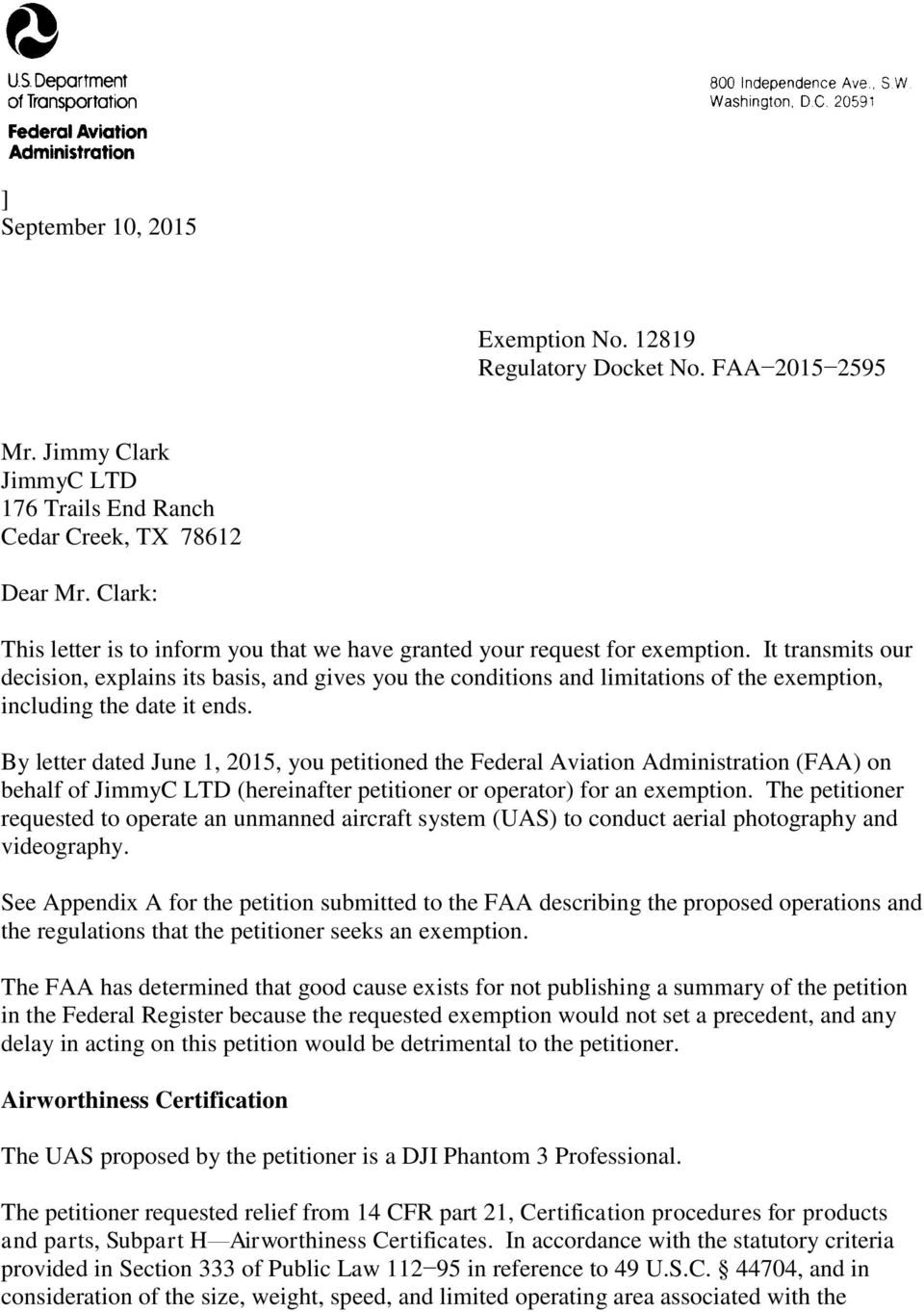See Appendix A for the petition submitted to the FAA