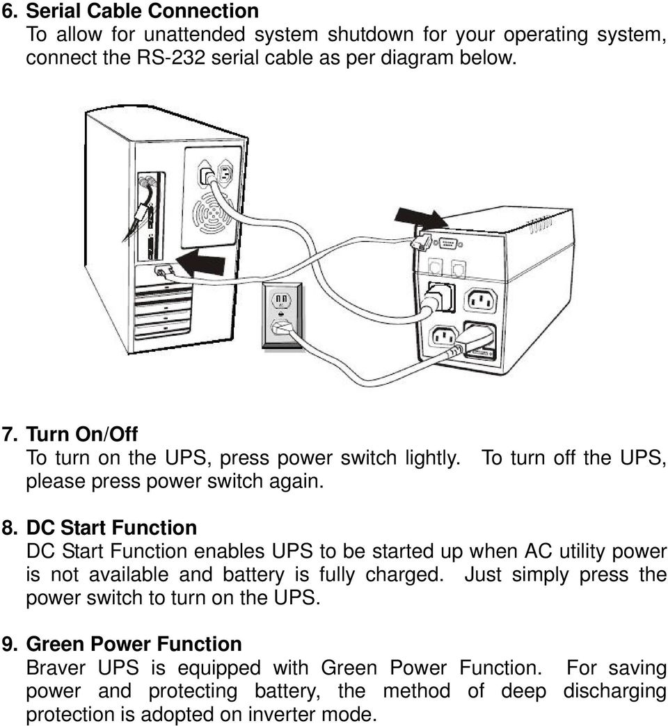 DC Start Function DC Start Function enables UPS to be started up when AC utility power is not available and battery is fully charged.