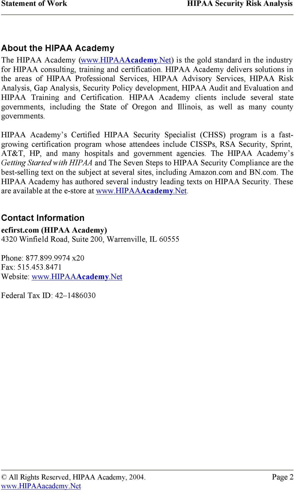 STATEMENT OF WORK FOR HIPAA SECURITY RISK ANALYSIS PDF