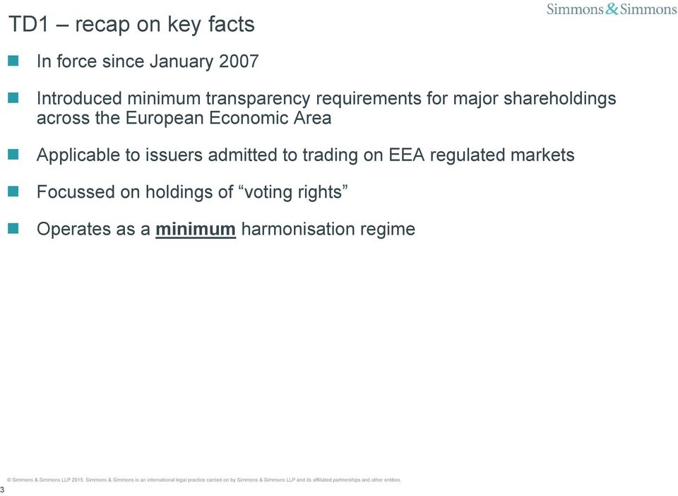 Economic Area Applicable to issuers admitted to trading on EEA regulated