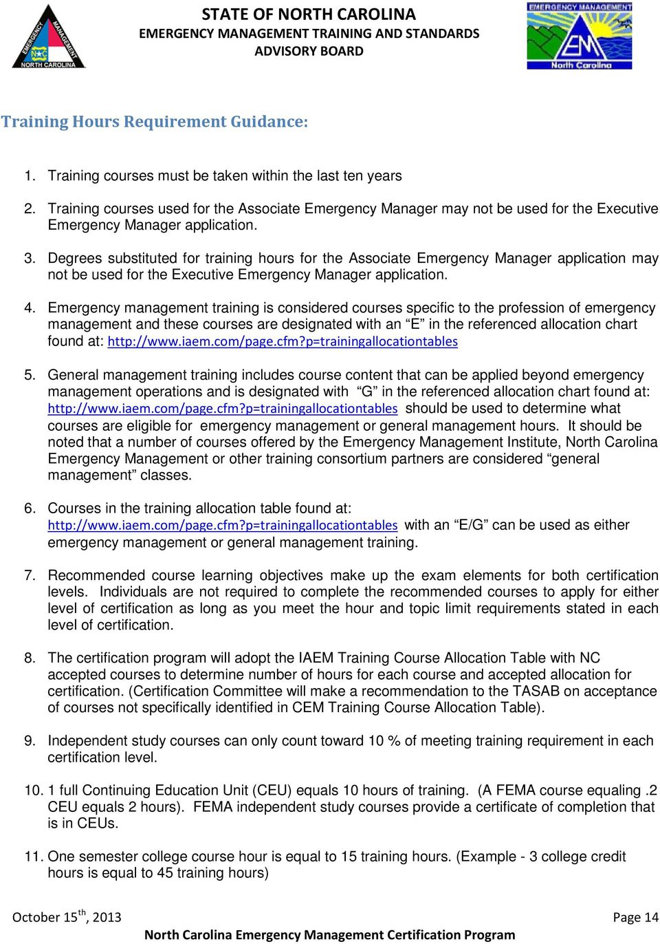 North carolina emergency management certification program pdf degrees substituted for training hours for the associate emergency manager application may not be used for fandeluxe Image collections