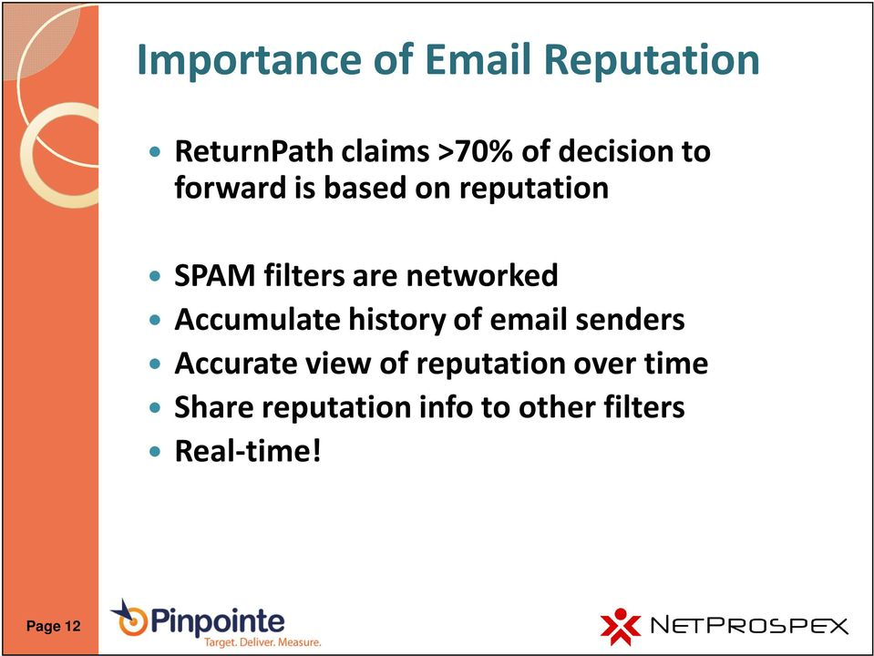 networked Accumulate history of email senders Accurate view of