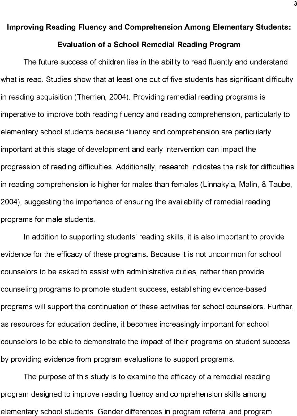 Improving Reading Fluency and Comprehension Among Elementary ...