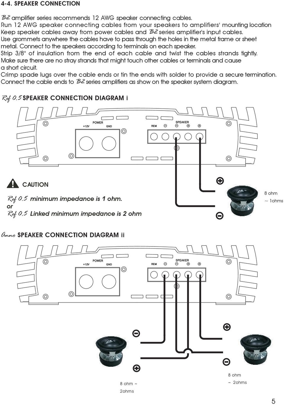 Owners Manual High Performance Amplifiers Pdf Wiring Diagrams For 4 8 Ohm Speakers Use Grommets Anywhere The Cables Have To Pass Through Holes In Metal Frame Or 7 Anno Speaker Connection Diagram