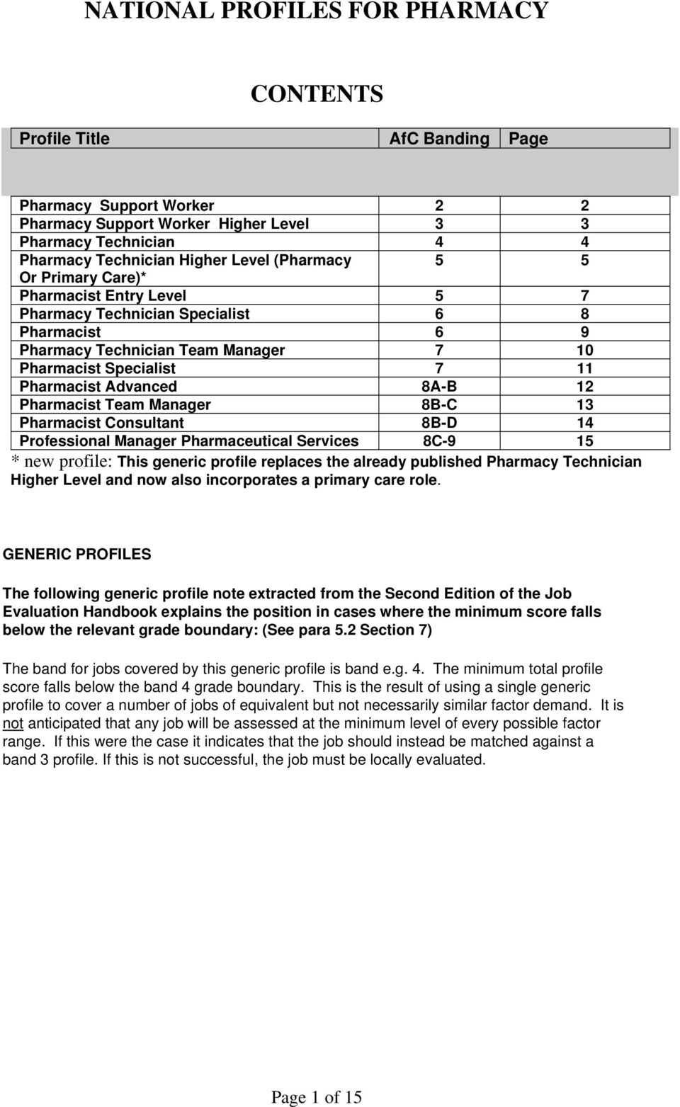 Pharmacist Team Manager 8B-C Pharmacist Consultant 8B-D 4 Professional Manager Pharmaceutical Services 8C-9 5 * new profile: This generic profile replaces the already published Pharmacy Technician