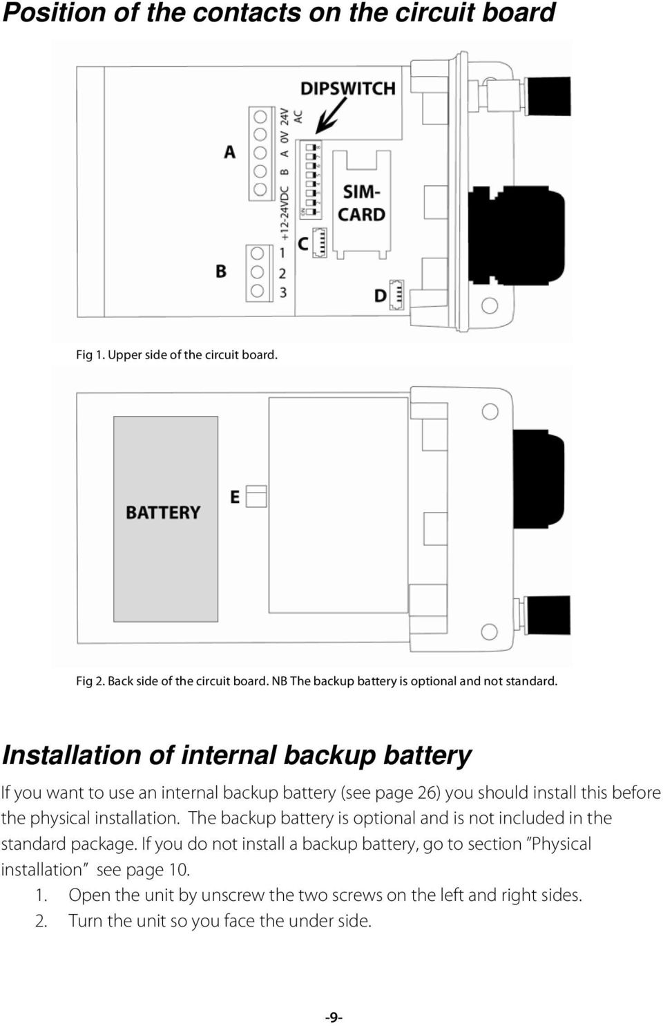 Ontech Gsm User Manual Pdf Battery Backup Circuit Page 1 Installation Of Internal If You Want To Use An See