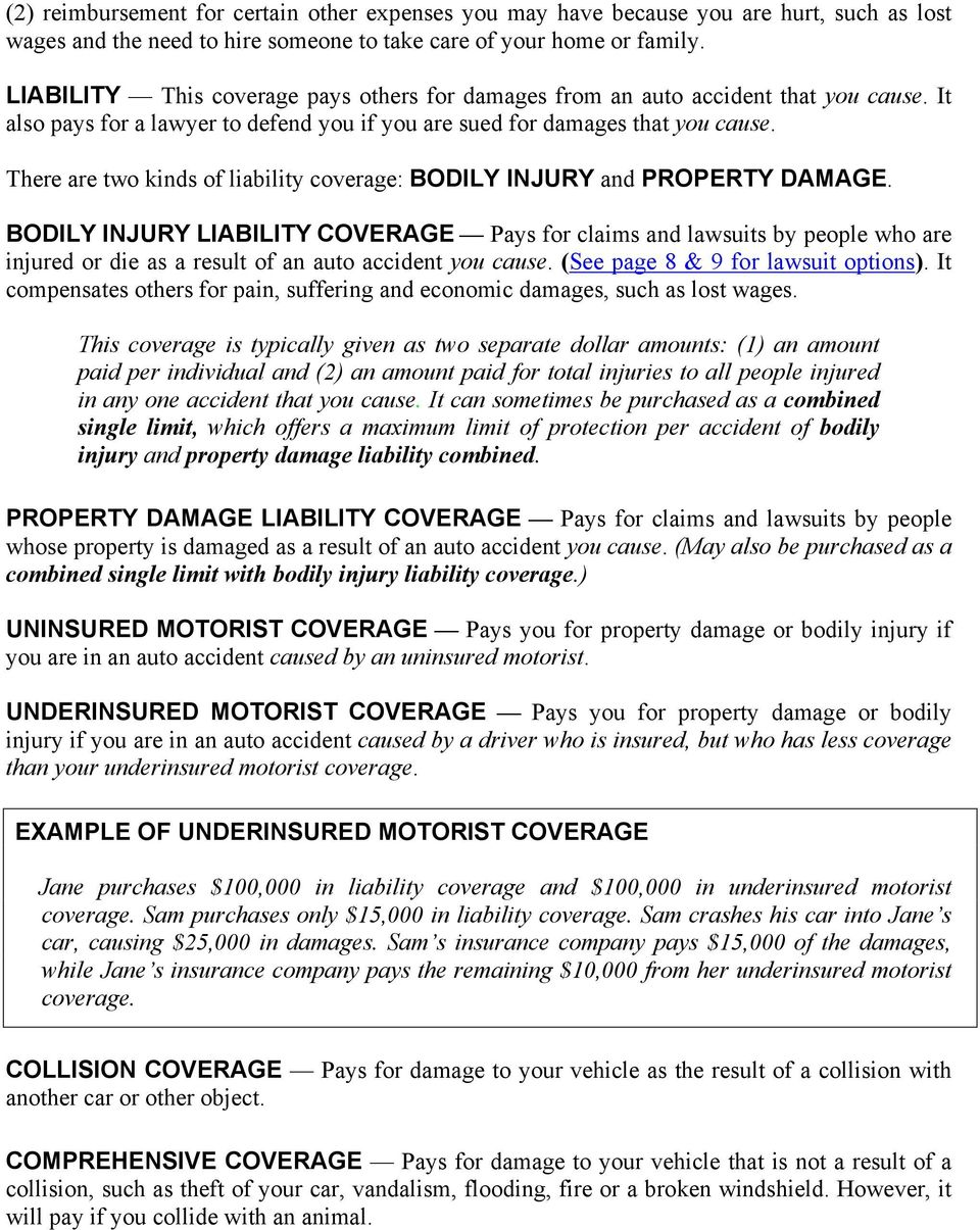 There are two kinds of liability coverage: BODILY INJURY and PROPERTY DAMAGE.