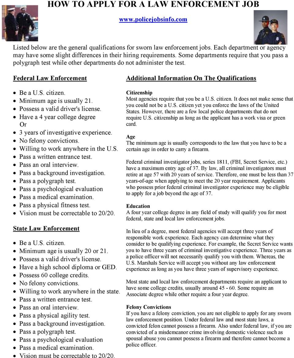 HOW TO APPLY FOR A LAW ENFORCEMENT JOB - PDF