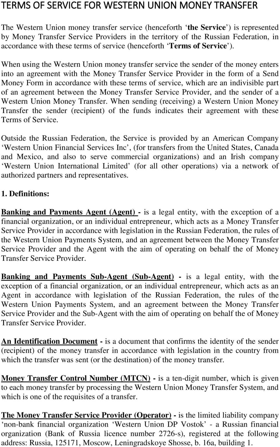 TERMS OF SERVICE FOR WESTERN UNION MONEY TRANSFER - PDF