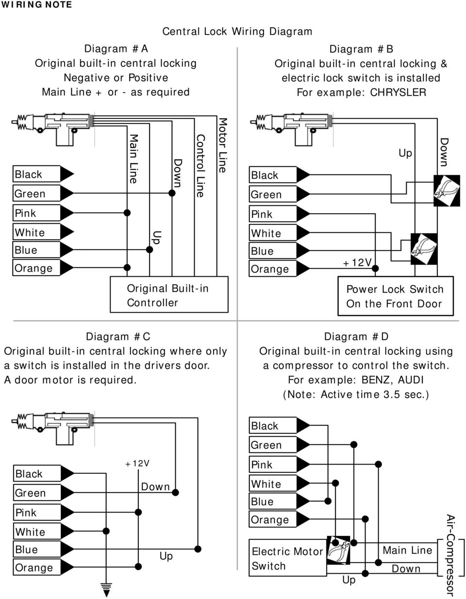 Sniper X1 Vehicle Security System Pdf Viper 5002 Wiring Diagram C Original Built In Central Locking Where Only A Switch Is Installed