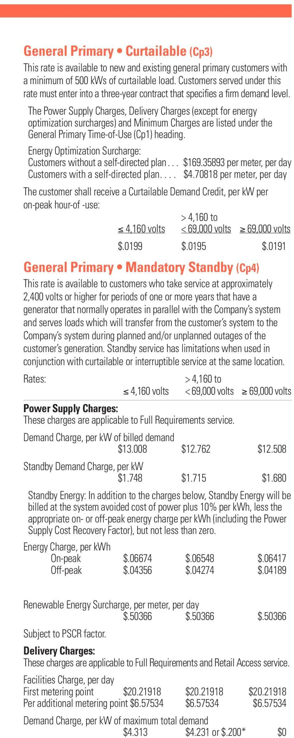 The Power Supply Charges, Delivery Charges (except for energy optimization surcharges) and Minimum Charges are listed under the General Primary Time-of-Use (Cp1) heading.