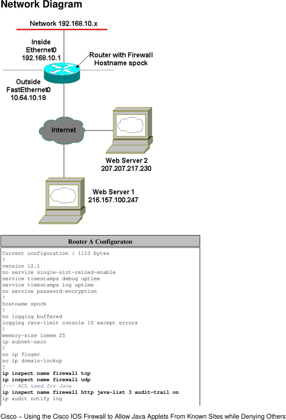 Table of Contents  Cisco Using the Cisco IOS Firewall to