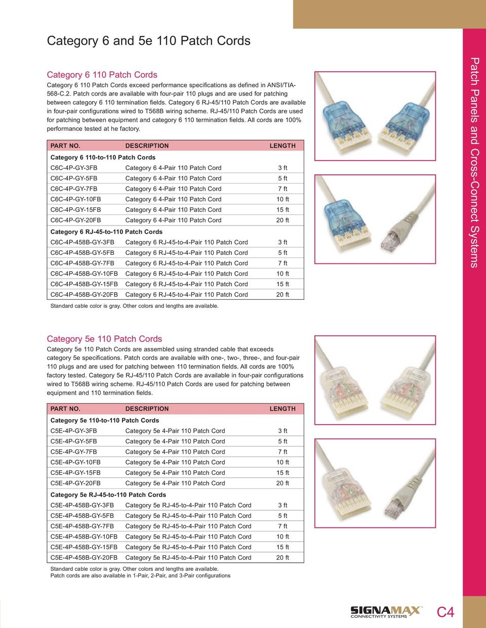 Patch Cords Cable Assemblies Premise Diagram In Addition Cat5e Crossover On Cat 5e Category 6 Rj 45 110 Are Available Four Pair Configurations