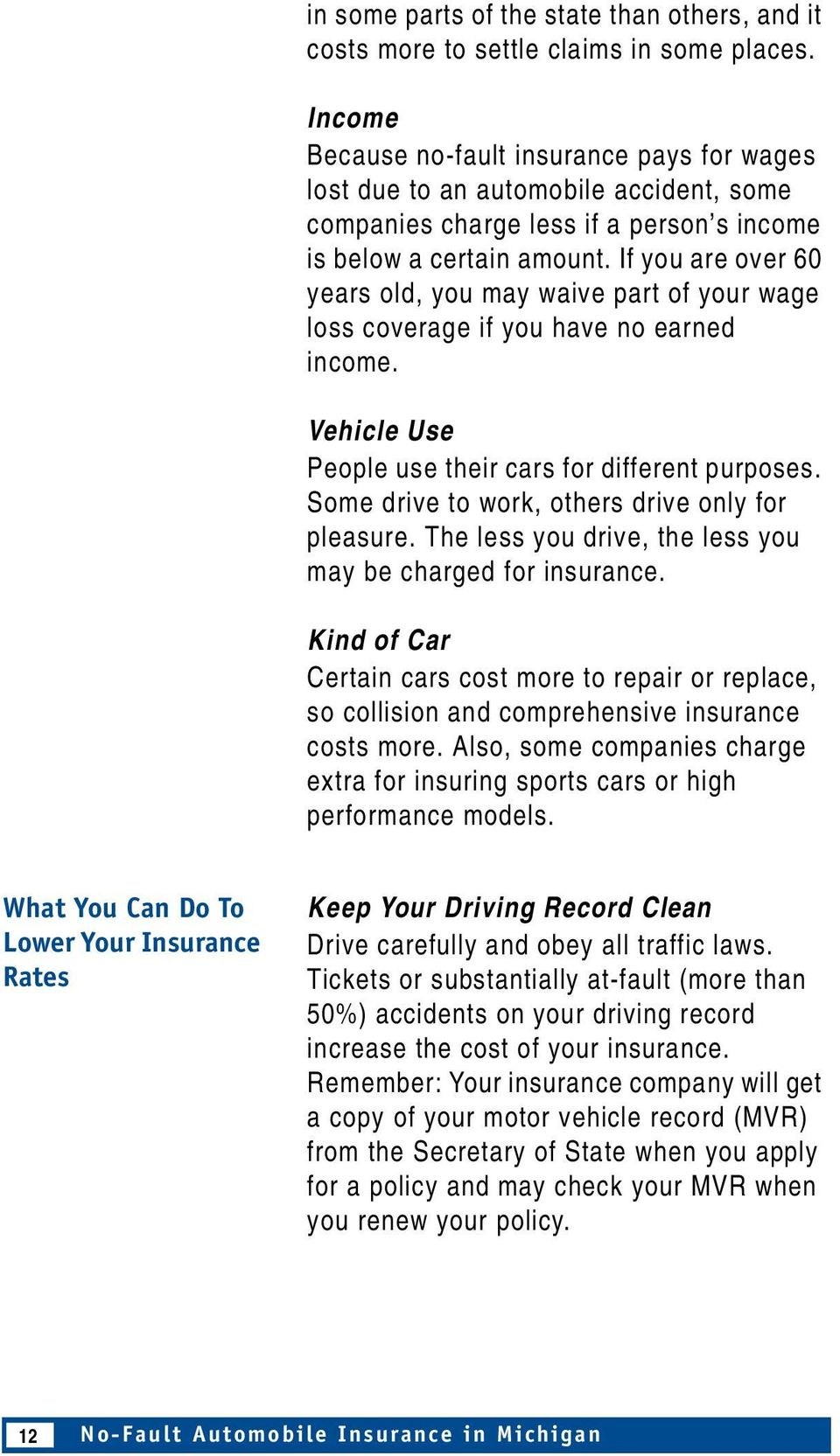 If you are over 60 years old, you may waive part of your wage loss coverage if you have no earned income. Vehicle Use People use their cars for different purposes.