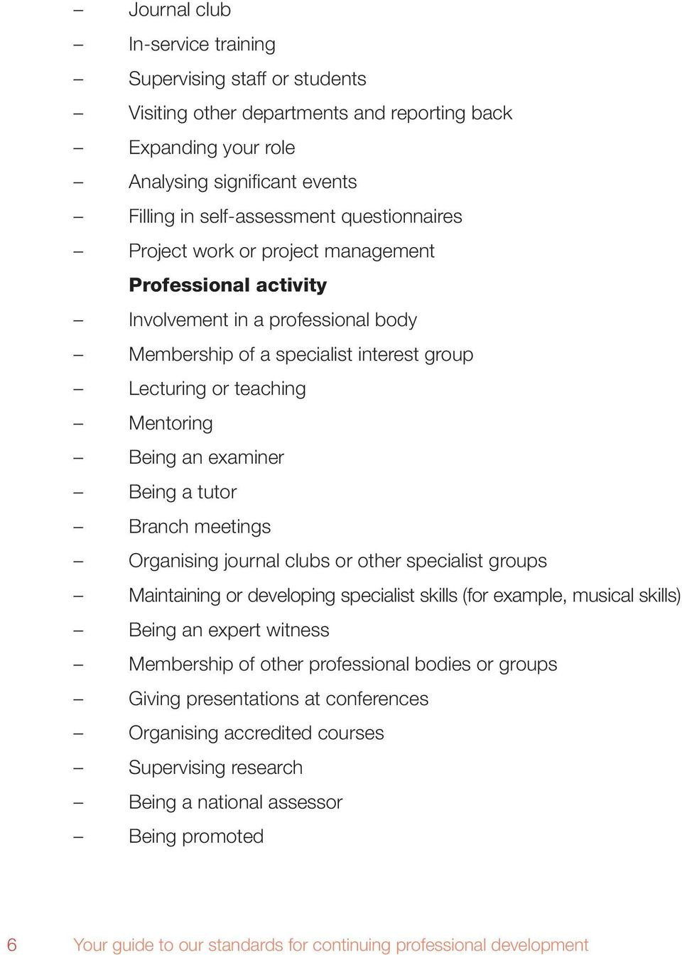 Branch meetings Organising journal clubs or other specialist groups Maintaining or developing specialist skills (for example, musical skills) Being an expert witness Membership of other professional