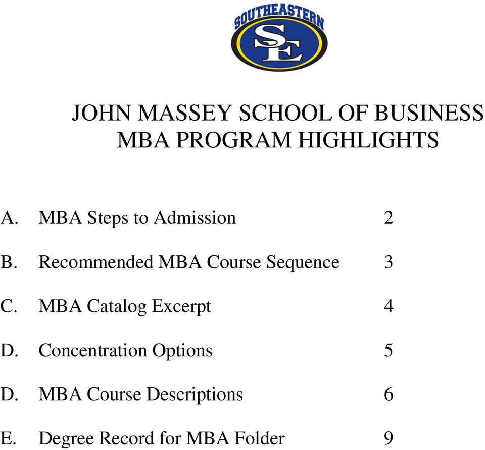 Recommended MBA Course Sequence 3 C.