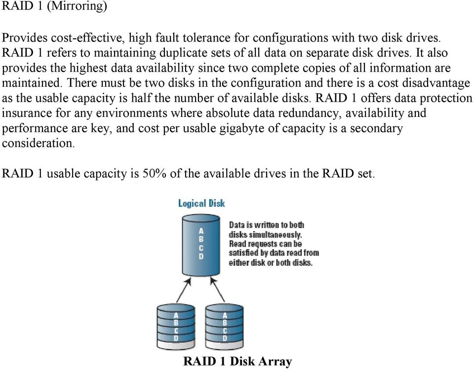 It also provides the highest data availability since two complete copies of all information are maintained.